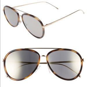 FENDI 57mm Mirrored Aviator Sunglasses